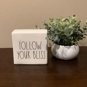 Rae Dunn FOLLOW YOUR BLISS Ceramic Sign 😊